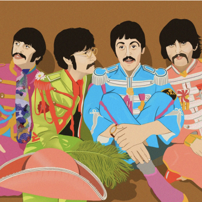 Silk Screen image by Charlotte Macmillan-Scott image of The Beeltes Sgt Pepper Lonley hearts club band