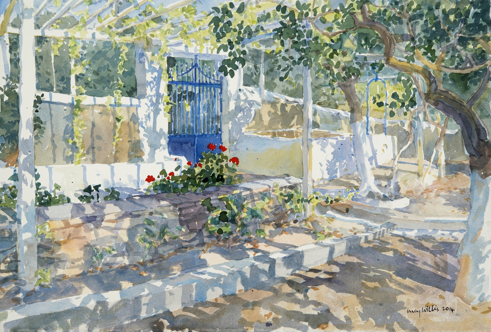 The Blue Gate, watercolour 45 x 65 cm by Lucy Willis