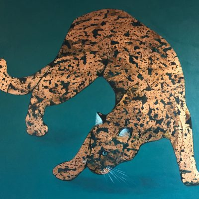 Alexandra Brown - Leopard Painting with gold